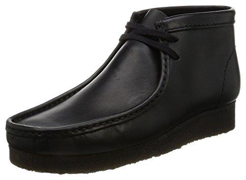 Clarks originals wallabee boot, mocassini uomo, nero (black leather), 42 eu