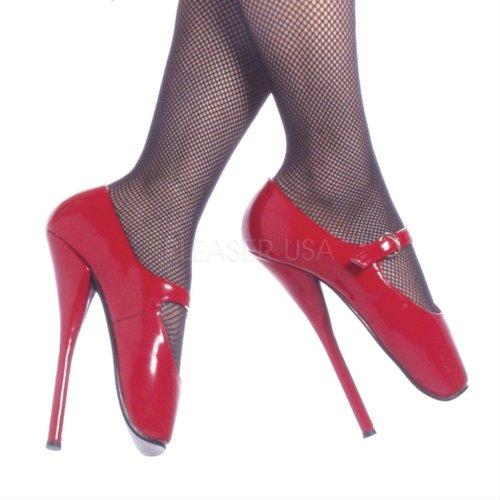 Devious BALLET-08 Damen Fetish Heels Red pat