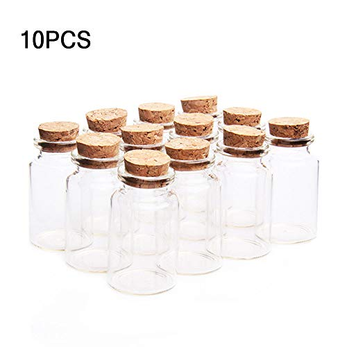 knowing 10 Stücke 30mm x 50mm Mini Glasfläschchen mit Korkverschluss, 20ml Leere Probe Glasflasche Gläser, Mini Fläschchen mit Korken (Transparent) (Leere Fläschchen)
