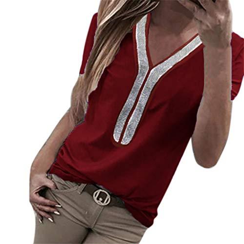 Kviklo Damen Plus Size T-Shirt Pailletten Kurzarm V-Ausschnitt Tops Kostüm Bluse Oversize(XL(40-42),Burgundy)