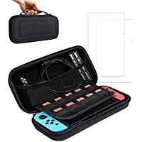 BOENFU Carrying Case With 2 Pcs Screen Protectors for Nintendo Switch Bundles, Controllers, Game Cartridges, Joy-Cons…