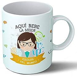 Planetacase Taza Desayuno Aquí Bebe la Mejor psicóloga del Mundo Regalo Original psicólogos Ceramica 330 ML