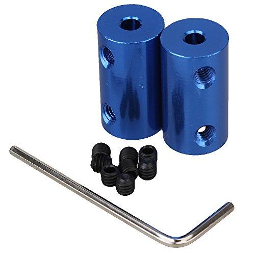 Motor Kupplung (BQLZR Blau 4mm-6mm Starre Kupplung Aluminium Wellenkupplung Kupplung Motor Getriebe Stecker 2er Pack)