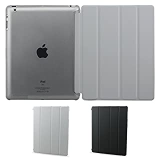 Almondcy Slim-Fit iPad Smart Cover Case for Apple iPad 2 iPad 3 iPad 4 (Built-in Stand and Front/Back Protection and Built-In Magnet for Sleep/Wake Feature) (iPad 2/3/4, Grey)