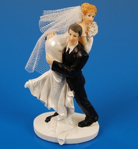 SiDeSo® Tortenaufsatz Braut geschultert Hochzeit lustig Tortendeko Brautpaar Tortenfigur