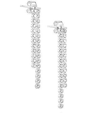 LillyMarie Damen Silber Ohrstecker Silber 925 klar original Swarovski Elements Glitzer hängend Satin-Beutel, Geschenk...