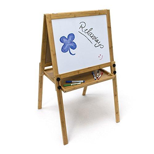 Prix Relaxdays 10019037 Tableau Enfant en Bambou Magnétique sur Pied Jeu d'enfants Loisirs créatifs écolier maître avec feutres HxlxP : 93 x 56,5 x 56,5 cm, Blanc