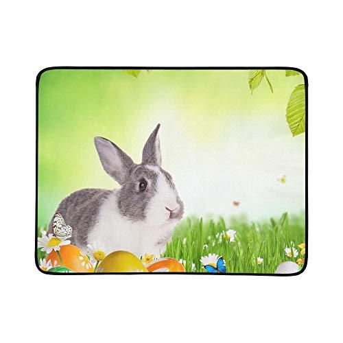 WYYWCY Nettes Kaninchen-Gras färbte Eier frei Stockfoto Muster tragbare und Faltbare Deckenmatte 60x78 Zoll-handliche Matte für kampierenden Picknick-Strand Innenreise im Freien