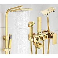 FuweiEncore Mezclador de la Ducha del baño Cuadrado de Oro Ducha de la  Lluvia Superior con 5b962172ab04