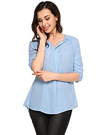 3fabb34e938 ANGVNS Women's Long Sleeve V-Neck Pullover Casual Chiffon Blouse Shirts