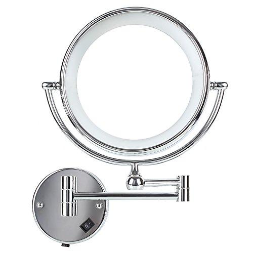 DECKEY Kosmetikspiegel mit LED Beleuchtung und 1-/ 5-facher Vergrößerung aus Kristallglas, Edelstahl und Messing, Doppelseitig, Rostfrei, Schminkspiegel - Beleuchtete Make-up-spiegel Wand