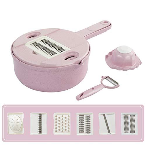 LH's stores Gemüsehobel Reibe Multifunktions-Küchenschredder Reibe Eiweiß Separator Reibe Haushaltsscheibe Gewürfelt Küchenhelfer (Color : Pink)