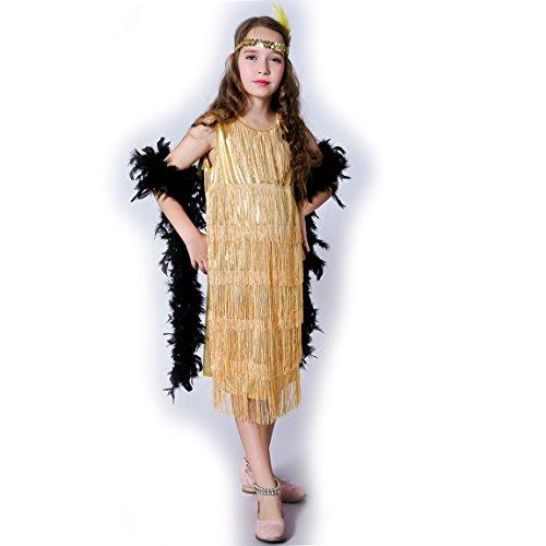 Flapper Fringe Girl Kostüm - Sea Hare Süßes Flapper-Kinderkostüm der Mädchen (Gold, M:7-9 years)