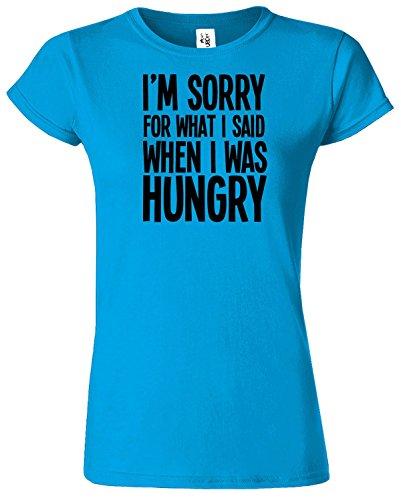 I'M SORRY FOR WHAT I SAID Mesdames T-shirt Tshirt drôle Top Saphir / Noir Design