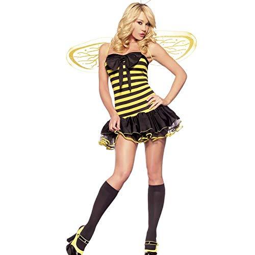 thematys Bienenkostüm Biene 3-teilig Kostüm-Set für Damen - Flügel, Haarband & Kleid perfekt für Fasching, Karneval & Cosplay - Einheitsgröße 160-175cm