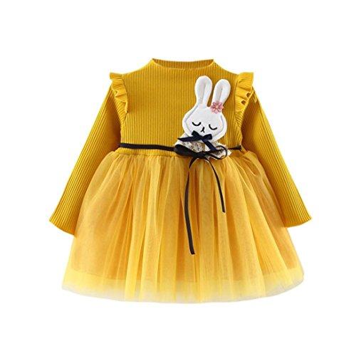 Baby Kleidung LMMVP Mädchen Herbst Tutu Sommerkleid Kinder Kleider Langarm Spitze Kleid Blumendruck Kleid Party Kleid Langarm Herbst Kleider Kleinkind Kleid (12Monat-4Jahr) (Gelb, 90 (18Monat))