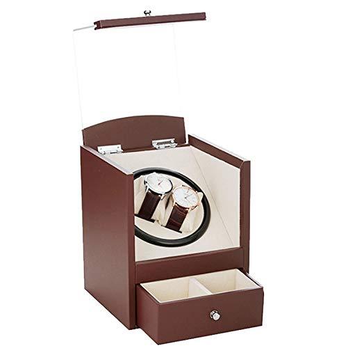 QHCGOOD Automatischer Uhrenbeweger , Holzschale + PU-Lederkissen 4 Timer-Modi Premium Silent Motor 210 * 180 * 176mm Braun - Leder-optionen-beenden
