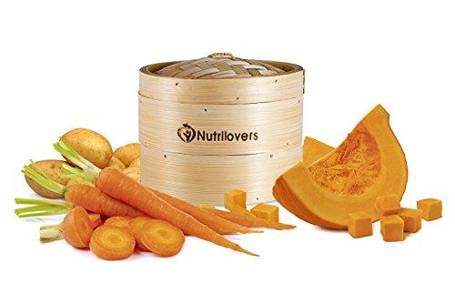 NUTRILOVERS Dampfgarer (20 cm) 100% Bambus – 3 tlg. Korb-Set zum Dampfen Steamen Kochen mit Topf - Bambusdämpfer für Gemüse Fisch Reis inkl. Tuch