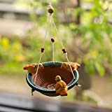 ExclusiveLane Terracotta Handpainted Home Decorative Wall Hanging Cum Garden Decorative Bird Feeder