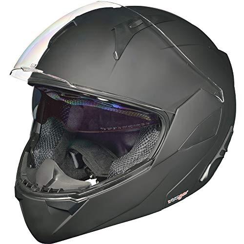 RS-992 Klapphelm Motorradhelm Conzept Motorrad Modular Roller Helm rueger, Größe:M (57-58), Farbe:Matt Schwarz