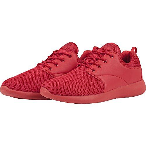 Urban Classics Damen und Herren Light Runner Shoe, Low-Top Sneaker für Damen und Herren, Sportschuhe mit Schnürung, Fire Red, Größe 44