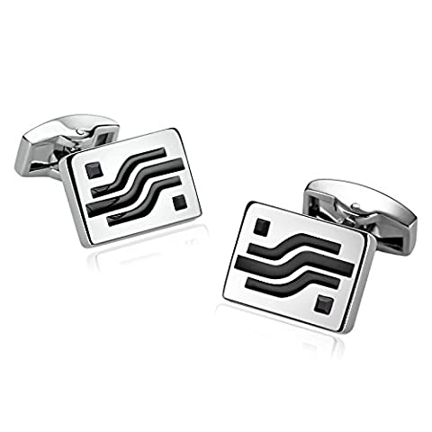 Epinki Stainless Steel Unique Stylish Modern Cufflinks for Mens Square Geometry Lines Crystal Black