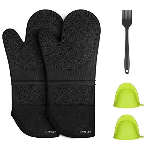 f33c171d3e4220 PHILORN Silikon Ofenhandschuh Grillhandschuhe Grill Lederhandschuhe  Hitzebeständige Handschuh bis zu
