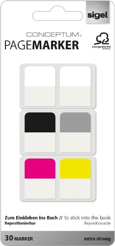Sigel CO100 Conceptum Pagemarker/Haftmarker, 30 Blatt, Streifenformat: 20 x 26 mm