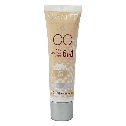 SANTE - CC Cream 6 in 1 - Klarer Ton 10 - Mittlere Deckkraft für natürliches Aussehen - Leichte Textur - BIO, Vegan, Glutenfrei - 30 ml