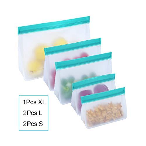 Monland PEVA Auslaufsichere Aufbewahrungs Tasche für Lebensmittel Wieder Verwendbare Gefrier Tasche Top FrüChte Lunch Box KüChe Organizer mit Rei?Verschluss BPA Frei