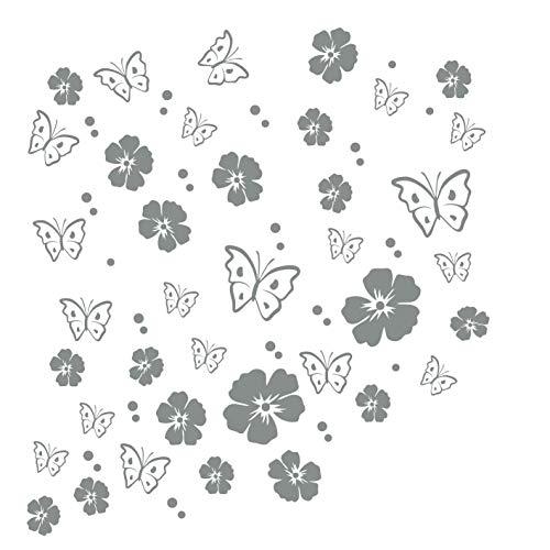 kleb-drauf®   19 Blüten, 19 Schmetterlinge und 42 Punkte   Grau - glänzend   Wandtattoo Wandaufkleber Wandsticker Aufkleber Sticker   Wohnzimmer Schlafzimmer Kinderzimmer Küche Bad   Deko Wände Glas Fenster Tür Fliese (Wand-vase Dot)