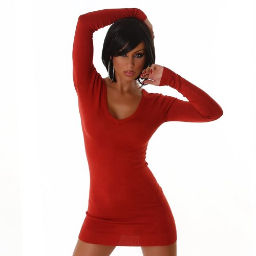 Maglioni Longpulli Vestito Maglione mini abito con scollo a V tagliare a legare una taglia 38,40,42 S-M Rosso