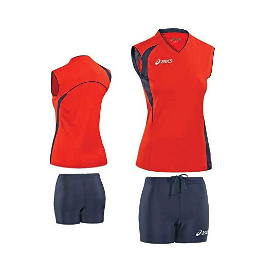 Kit Volleyball Damen: Jersey + Shorts ASICS FLY rot blau T226Z1 (Jersey-shorts Asics)