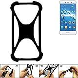 K-S-Trade Handyhülle für Huawei Y7 Dual SIM Schutz Hülle Silikon Bumper Cover Case Silikoncase TPU Softcase Schutzhülle Smartphone Stoßschutz, schwarz (1x)