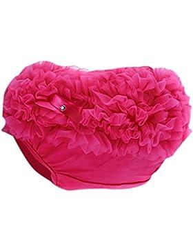 Bambini Neonata Volant Mutandine Bloomers Copertura Del Pannolino S Rosa Rosso