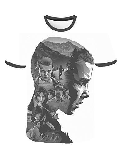 Camiseta Stranger Things Niño, Camiseta Stranger Things Niña Unisex Impresión 3D Manga Corta T Shirt Hombre Abecedario Impresión T-Shirt Mujer Camisa de Verano Regalo Camisetas y Tops (7,S)