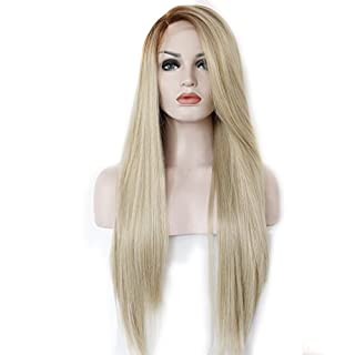 K'ryssma® Women's Blonde Ombre Side Part Synthetic Lace Front Wigs Straight Hair Brown Roots Heat Safe Half Hand Tied 22 inches