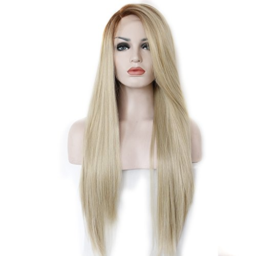 K'ryssma Synthetic Cheveux Longue Side Part Natural Straight Ombre Perruque Blonde Glueless Lace Front Wigs Heat Resistant Half Hand Tied 22 inches