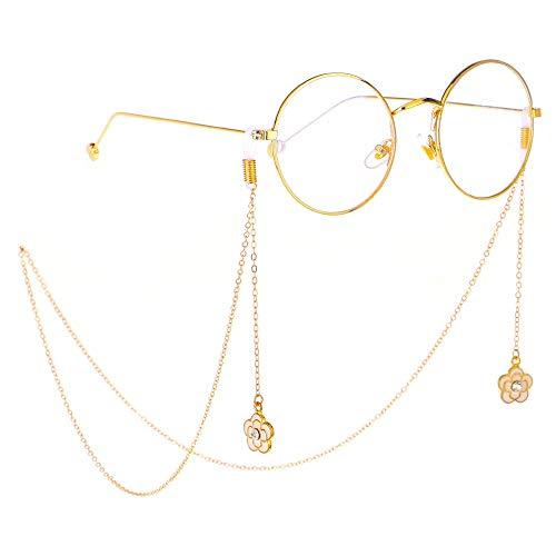 Pflaumen-glas-anhänger (Brillenketten Frauen Strass Pflaume Anhänger Brillenketten Brillenhalter Sonnenbrille Bead Neck Lanyard Chain Cord Gläser Rutschfestes Dekoratives Zubehör (Color : Gold, Size : 75cm))