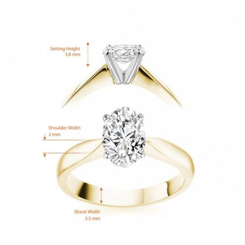 Diamond Manufacturers, Damen, Verlobungsring mit 0.25 Karat F/VVS1 feinem und zertifiziertem Ovaldiamant in 18k Gelbgold, Gr. 41 - 5