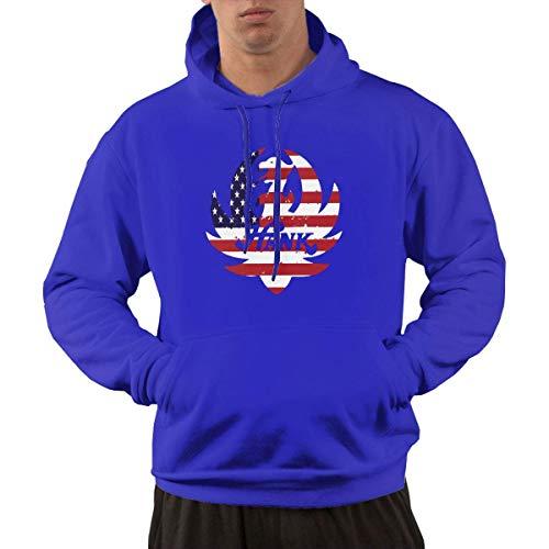 Herren Hank Williams Jr Hooded Tee Shirts Herren T-Shirt Tops Lose T-Shirt Pullover Hoodie Sweatshirt Winter Outdoor Top Blau XL -