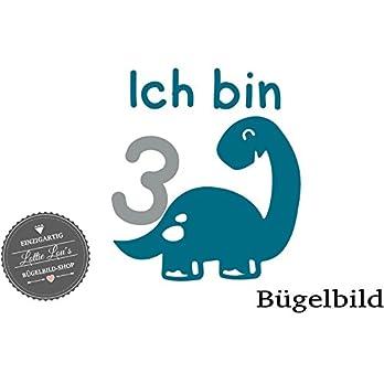 Bügelbild Geburtstag Aufbügler Dino Dinosaurier Name Zahl in Flex, Glitzer, Flock, Effekt in Wunschgröße