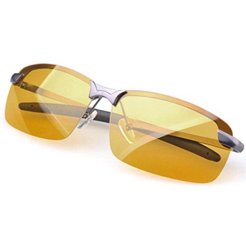Nachtsichtbrille Busyall Polarisiert Brille Sonnenbrille Gelbe Linse Anti-Glanz Fahren Brillen Kontrast-Brille Nachtfahrbrille polarisierte (Grau)