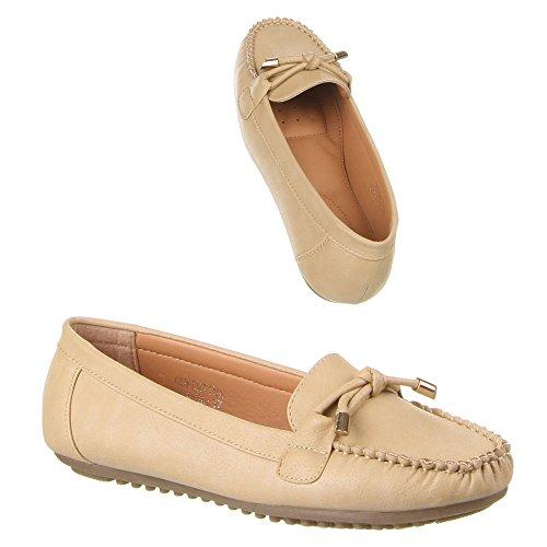Damen Schuhe, B804-BL, MOKASSINS Hellbraun