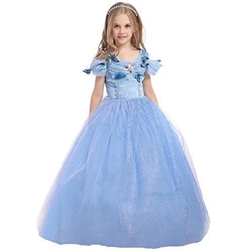 ELSA & ANNA® Mädchen Prinzessin Kleid Verrücktes Kleid Partei Kostüm Outfit DE-FBA-CNDR5 (3-4 Jahre - Size Code S, Blau)
