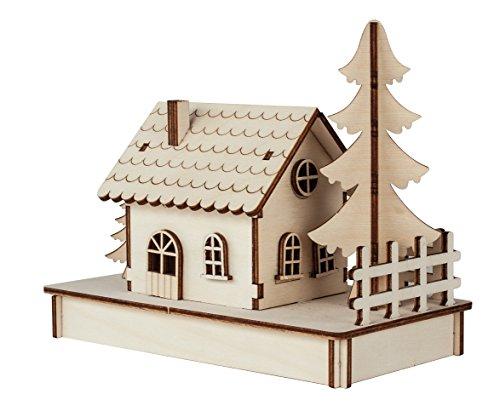 Rayher 46299000 Kit en bois Petite maison – 30 Pièces, FSC 100% – Nature