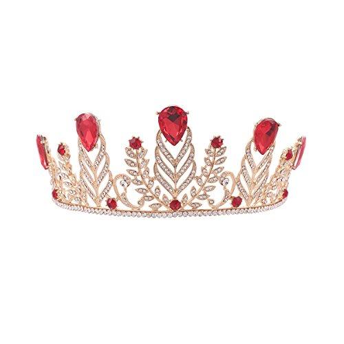 PIXNOR Hochzeit Braut barocken Strass Krone Tiara Stirnband (rot)