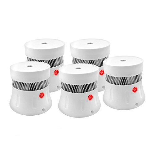Mini Rauchmelder 5 Jahre Batterie, Feuermelder, EN14604 gelistet , CE-zertifiziert, Fotoelektrischem Sensor, Rauchmeldern mit Test-Knopf und Alarm bei niedrigem Batteriestand, 5er-Set -FSD001