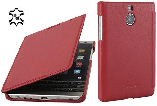 StilGut Book Type Case, Hülle aus Leder für BlackBerry Passport Silver Edition, Rot Nappa