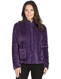 Ladies Womens Fleece Bed Jacket Luxury Flannel Embossed Pattern Penny Collar Navy Blue Maroon Size UK 10 12 14 16 18 20 22 24